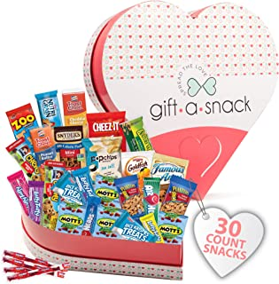Mothers Day Gift Basket for Mom Heart Snack Box Variety Pack (30 Count) - College Student Care Package, Prime Food Arrange...