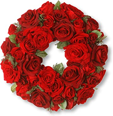 National Tree 15 Inch Velvet Rose Wreath with Sprigs of Cedar (RAV-WL1265-1)