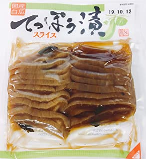"""Japanese Pickles """"TEPPOZUKE"""" Slice 4.32 oz. TEPPOUZUKE is Japanese pickles pickled in soy sauce with white cucumber, chili pepper and Shiso from Japan. It is easy to eat because it is sliced."""