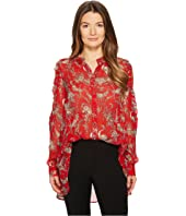 The Kooples - Birdy-Print Top with Asymmetrical Shoulders