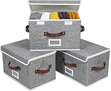 Sofier Storage Boxes with Lids 3 Pack Foldable Storage Bins with 3 Handles and Label Sturdy Decorative Fabric Baskets for She