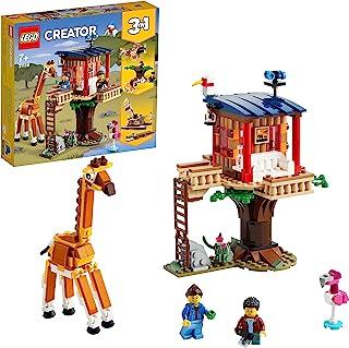LEGO Creator 3 w 1 Domek na drzewie na safari 31116 — zestaw konstrukcyjny z zabawkowym domem, dwupłatem i katamaranem (39...