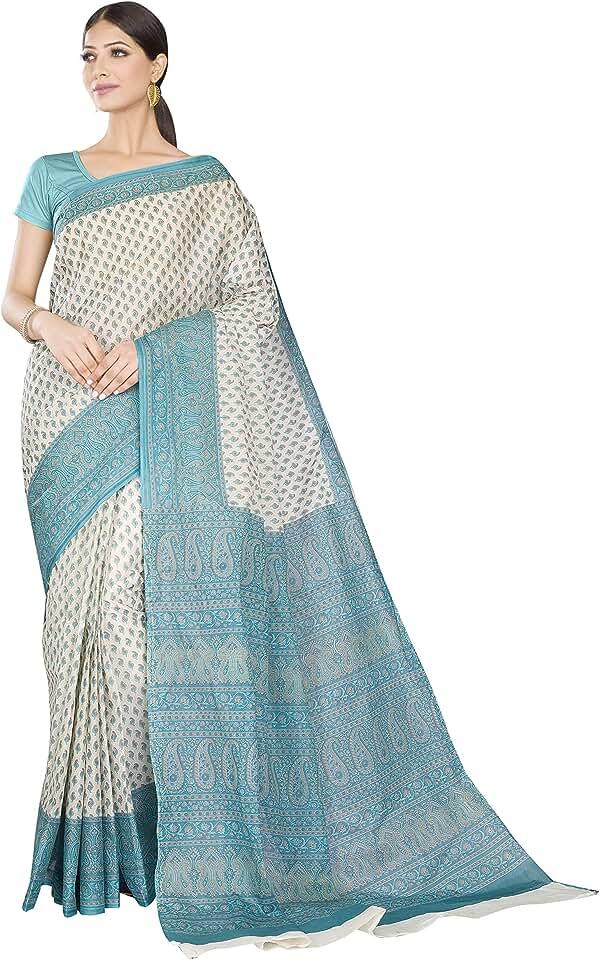 Indian RANI SAAHIBA Women's Pure Cotton Printed Saree Without Blouse Piece Saree
