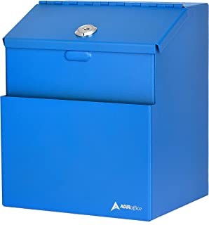 Adir Wall Mountable Steel Suggestion Box with Lock - Donation Box - Collection Box - Ballot Box - Key Drop Box (Blue) with...
