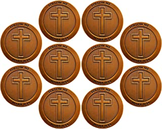 John 3:16 Coin, Bulk Pack of 10, for God so Loved The World Bible Verse Challenge Coin, Memory Verse Pass Along Handout fo...