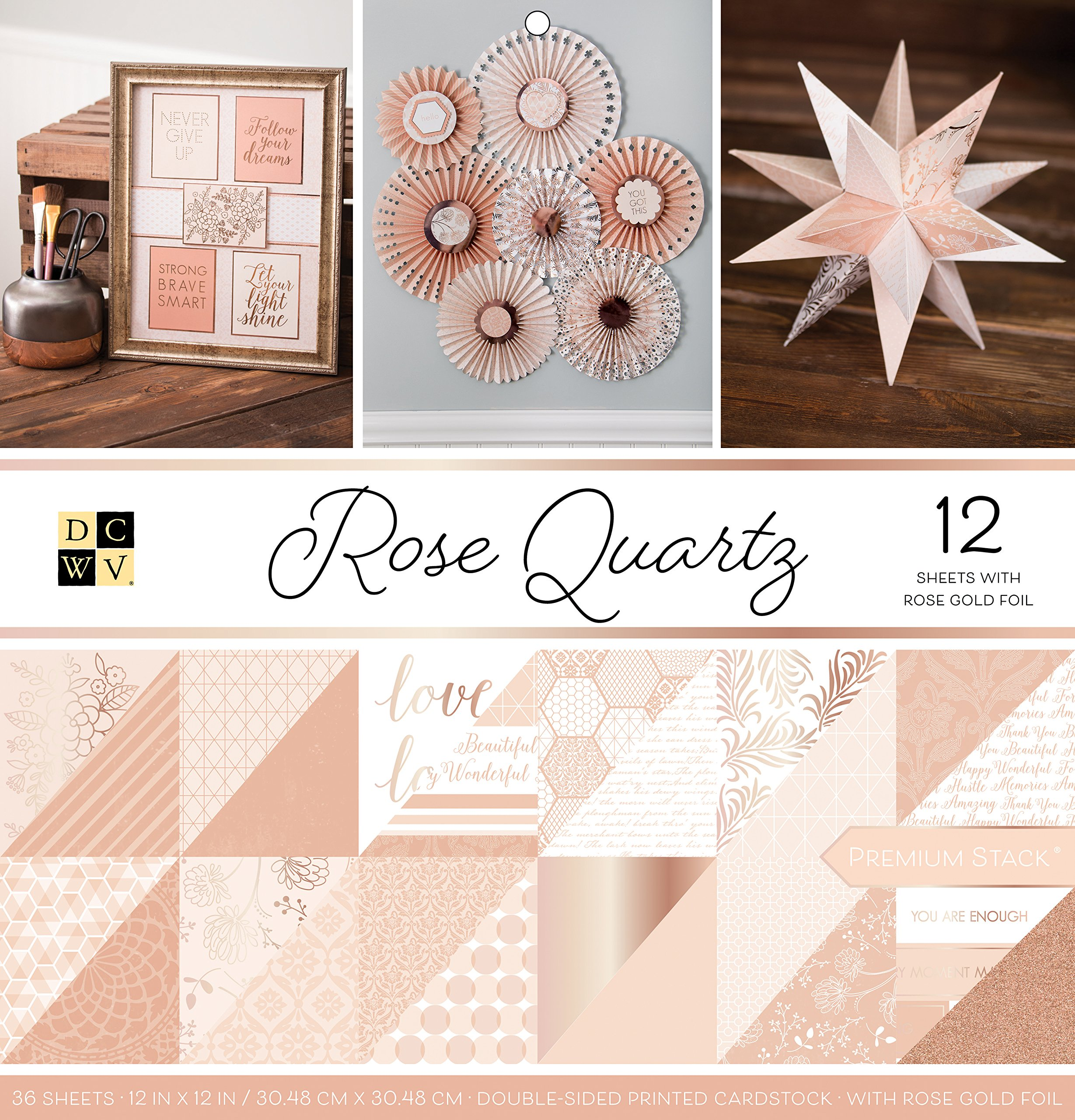 DCWVE DCWV Specialty Stack-6 x 6-Single-Sided-Solid Rose Golds-Foil and Glitter-18 Seat PS-006-00132 6 x 6