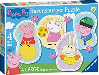 Ravensburger Peppa Pig 4 Large Shaped Jigsaw Puzzles (10,12,14,16pc)