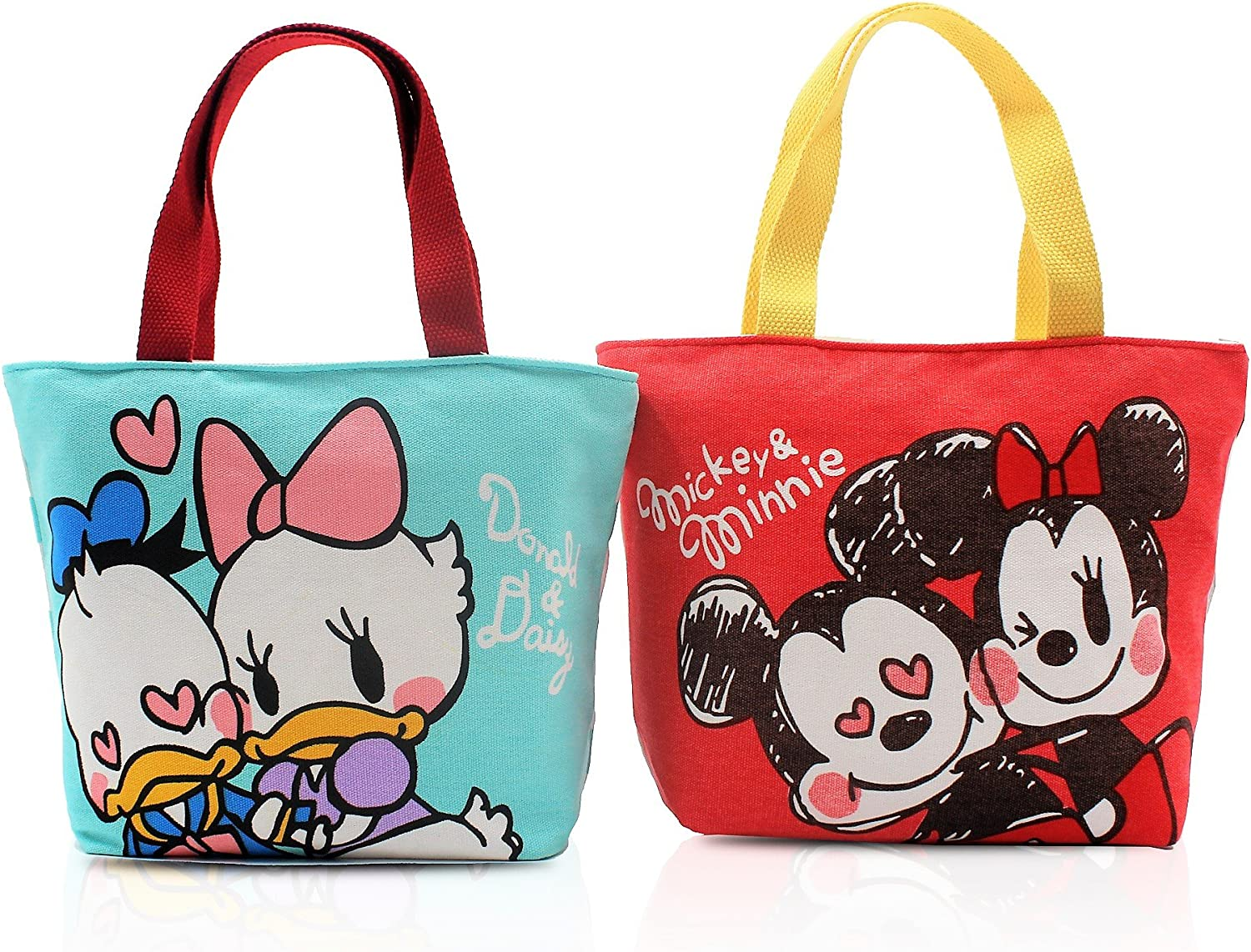 Finex 2 Pcs Set Mickey Minnie Mouse Donald Daisy Duck Canvas Zippered Tote with Top Carry Handles Love Sweet Coupl Hand Bag - Gym Makeup Diaper Reusable Grocery Lunch
