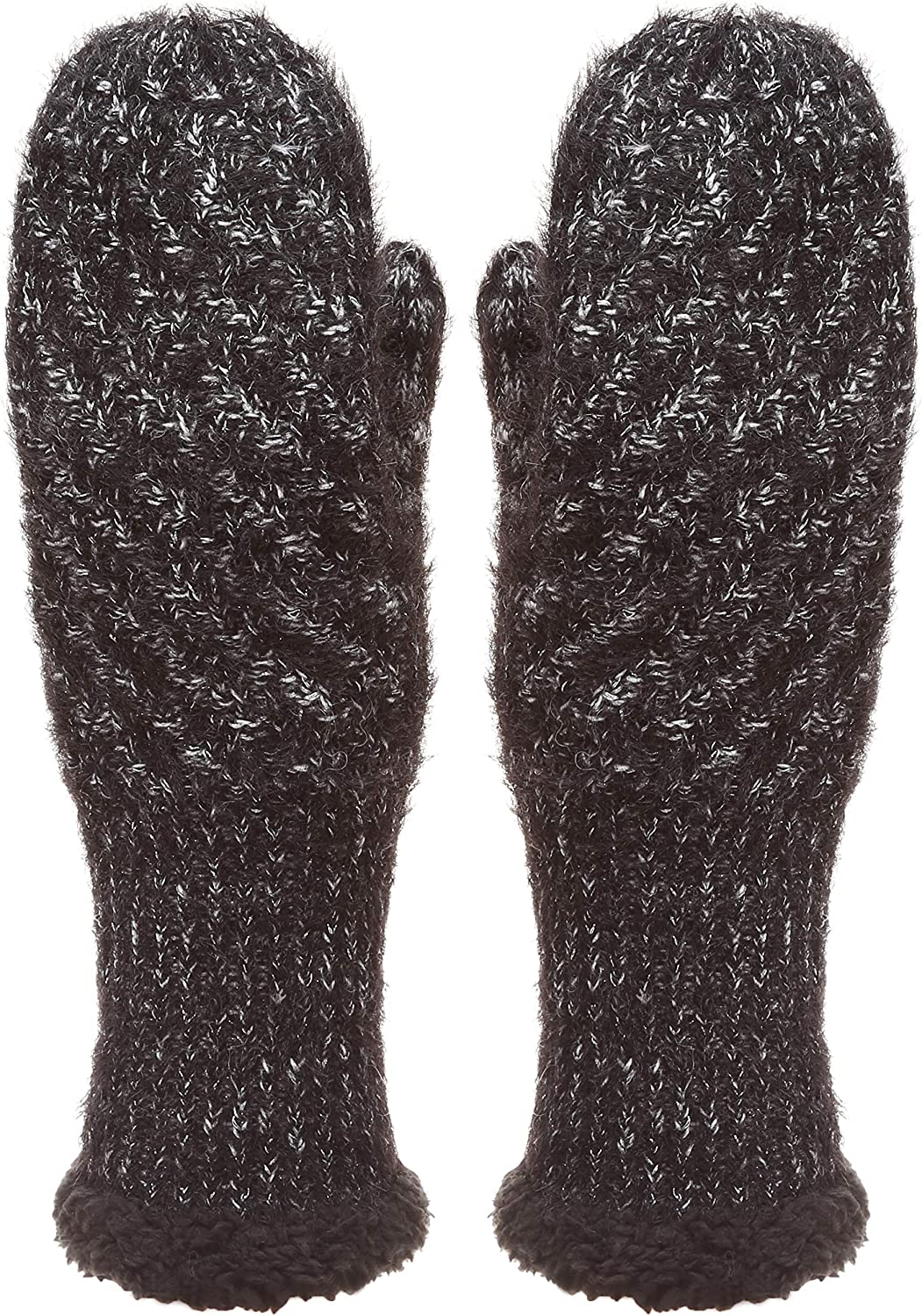 MIRMARU Women's Winter Warm Gloves Classic Thick Cable Knit Mittens with Soft Plush Lining