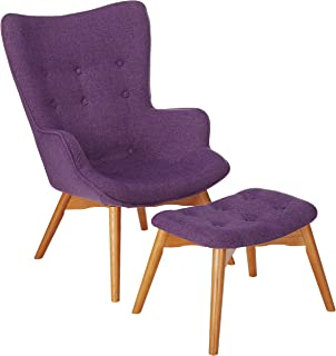 Christopher Knight Home Acantha Mid Century Modern Retro Contour Chair with Footstool, Muted Purple