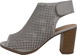 cc45cb66928b5 City Classified Women s Roadway Faux Leather Peep Toe Laser Cut Out  Slingback Stacked Heels