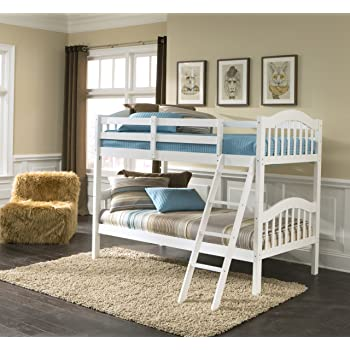 Amazon Com Storkcraft Long Horn Solid Hardwood Twin Bunk Bed White Twin Bunk Beds For Kids With Ladder And Safety Rail Baby