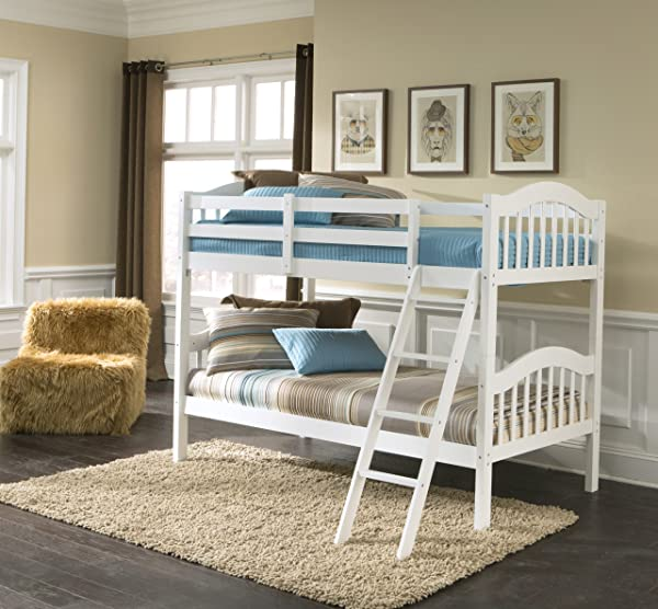 Storkcraft Long Horn Solid Hardwood Twin Bunk Bed White Twin Bunk Beds For Kids With Ladder And Safety Rail