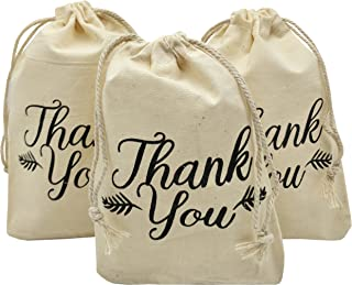 Sanrich Thank You Drawstring Bags 4x6 inch for Party Favor 20 Pack Gift Goodies Bags (4x6)