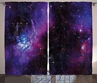 Ambesonne Space Curtains, Nebula Dark Galaxy with Luminous Stars and Cosmic Rays Astronomy Explore Theme, Living Room Bedroom Window Drapes 2 Panel Set, 108