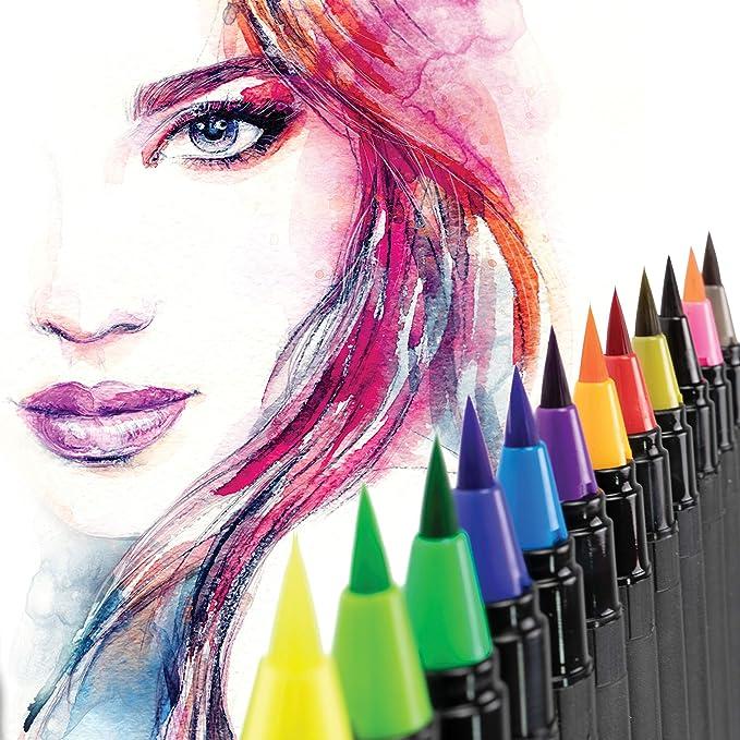 139 opinioni per Watercolor Brush Pen, 24 Pennarelli Professionali a Colori Con Punta Flessibile