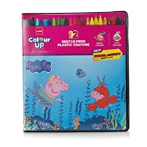 Cello Colourup Peppa Pig Colouring Kit 12 Sketch Pens, 12 Plastic Crayons, Peppa Pig Stencil Hobby Stationery