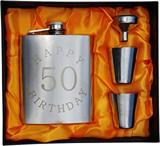 50th Birthday Flask Gift Set - 7 oz Flask Engraved with Happy 50 Birthday
