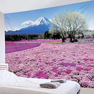 LB 自然風景タペストリー 紫の花海と富士山 おしゃれ 壁掛け インテリア モダン 風景画 ファブリック装飾品 多機能 壁 窓 個性プレゼント 布製 150x100cm