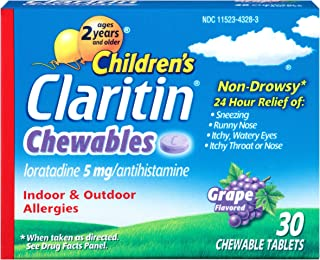 Claritin Children's24 Hour Non-Drowsy Allergy Grape Chewable Tablet, 5 mg, 30 Count