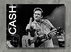 Johnny Cash Poster - Cash Canvas Print Classic Rock Wall Art Posters Print Standard Size 18