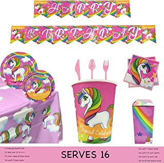 Unicorn Party Supplies Set ( 115 PCS ) – Serves 16 Guests – Girls Birthday Party Decorations for kids – Disposable Table Cover, Plates, Cups, Napkins, Tableware and Happy Birthday Banner – Pink Magical Kit by STORS UK