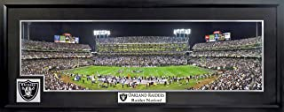 """Oakland Raiders Oakland Coliseum Panoramic (Deluxe Patch w/ """"Raider Nation!"""" Plate) Framed"""