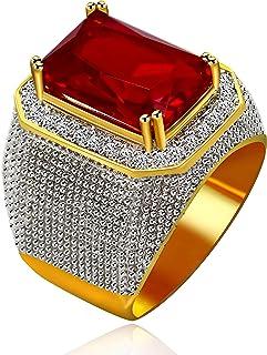 Uloveido الرجال الذهب مطلي الزمرد قطع مقلد العقيق خاتم الزفاف سوبر بيج تشيكوسلوفاكيا الهيب هوب خواتم RA408