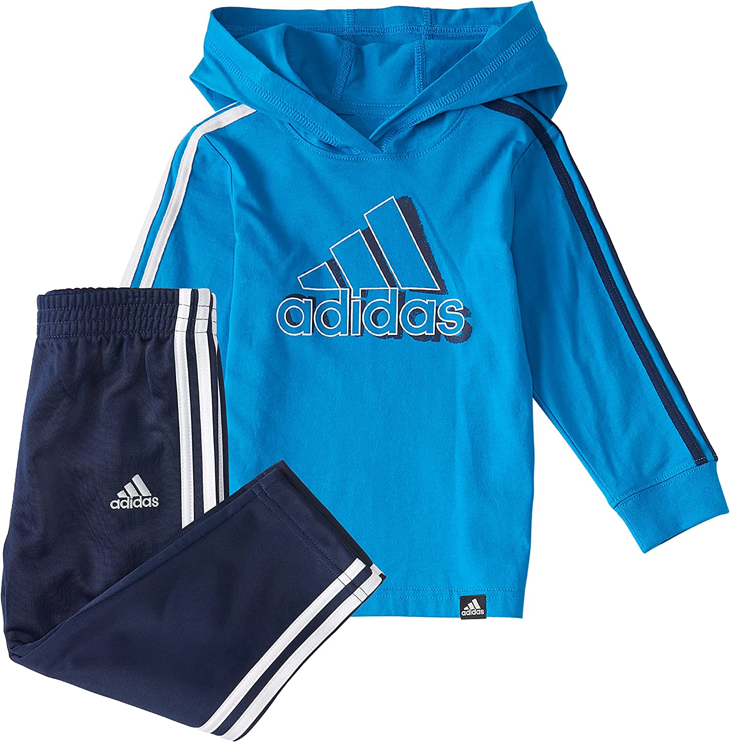 adidas baby-boys Long Sleeve 3-stripes Hooded Tee and Tapered Pa