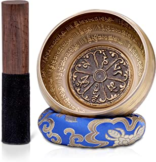 Dhyana House Tibetan Meditation Singing Bowl Set With Mallet,Ring Slik Cushion and Large Travel Box for Yoga, Healing, Reiki, Zen, Relaxation, Chakra and Music Handmade in Nepal (5 Inch, Blue)