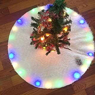 2019 Upgraded 48 inch Tree Skirt Carpet with Flashing LED Light, Large Snow White Plush Faux Fur Skirt, Rustic Xmas Tree Holiday Decorations