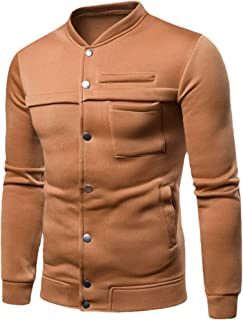 Mens Casual Turtleneck Solid Slim Fit Jackets with Pockets