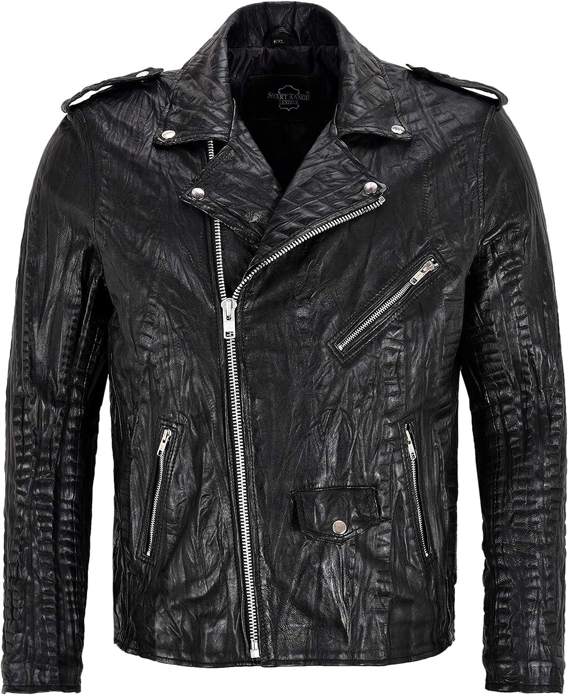 Men's Brando Jacket Black Croc Print Lamb Leather Classic Biker Perfecto SR-MBF