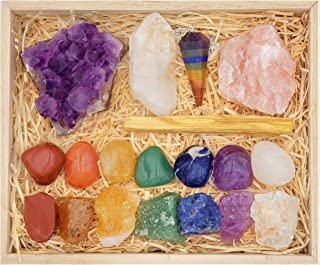 Deluxe Healing Crystals Gift in Wooden Box - 7 Chakra Set Tumbled & Raw Stones, Rose Quartz, Amethyst Cluster, Crystal Points, Chakra Pendulum, 82 Page E-Book + 20x6 Reference Guide Poster, Gift Ready