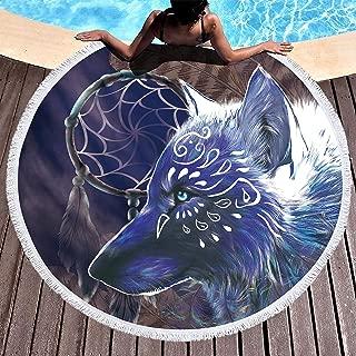 Bonsai Tree Wolf Beach Blanket, Dream Catcher Native American Round Beach Towel Blanket with Fringe Tassels, Animal Meditation Rug - 59 Inches