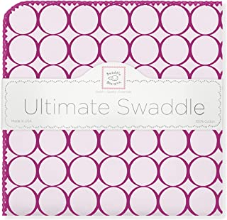 SwaddleDesigns Ultimate Swaddle, X-Large Receiving Blanket, Made in USA Premium Cotton Flannel, Very Berry Jewel Tone Mod Circles (Mom's Choice Award Winner)