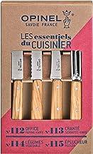 Opinel 254458 Essentials Lot de 4 couteaux de cuisine avec manche en bois d'olivier et acier inoxydable Multicolore