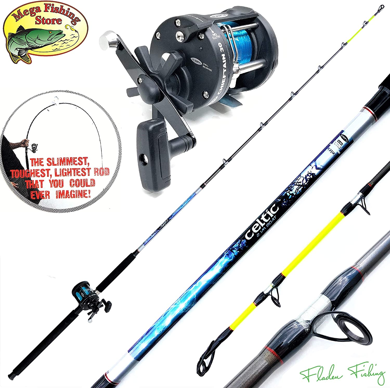 Fladen Norwegen Angelset Combo Stiefel Hochsee Rute 2,10m 30-40 lbs Stiefelrute + Multirolle + Schnur Fishing