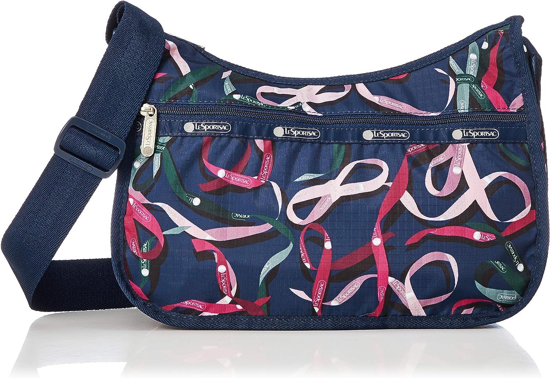 LeSportsac Classic Hobo Crossbody Handbag in Ribbons Navy, Medium