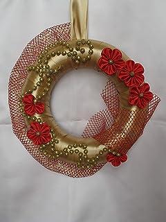 Ghirlanda Fuori Porta Addobbi di Natale color oro con fiori rossi