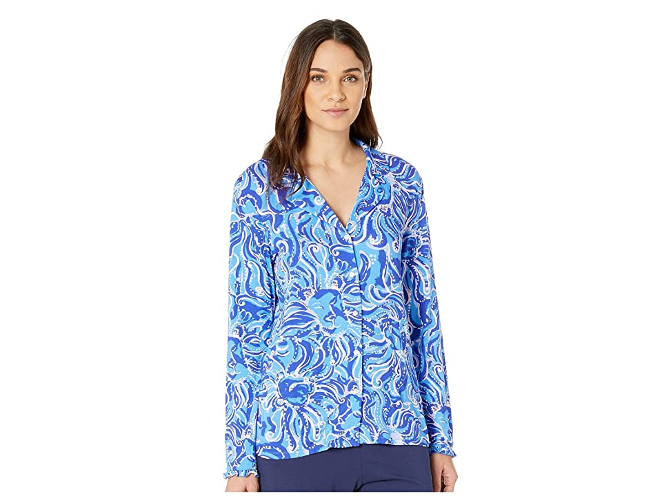 Lilly Pulitzer Ruffle PJ Button-Up Top (Coastal Blue Whispurr) Women