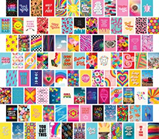 Artivo Wall Collage Kit Aesthetic Pictures 100 Set 4x6, Colorful Indie Kidcore Wall Collage Kit, Neon Retro Decor for Teen...