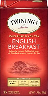 Sponsored Ad - Twinings of London English Breakfast Black Tea Bags, 25 Count (Pack of 6)