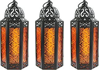 Decorative Candle Lanterns for Bathroom Decor, Medium, Amber, Set of 3