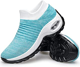 YHOON Women's Walking Shoes - Sock Sneakers Slip on Mesh Platform Air Cushion Athletic Shoes Work Nurse Comfortable Blue 6.5