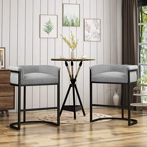 Christopher Knight Home 306280 Best Modern Wide Bucket Upholstered Barstool Gray And Black Set Of 2 28 00 X 21 50 X 34 25