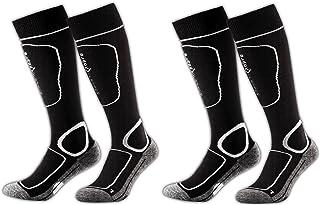 Hombre 2 Pares White Calcetines de esquí, Black/White, 31 – 34