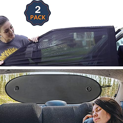 """high quality EcoNour Gift Bundle   Car Window Mesh Screen online sale (2 Pack) 36"""" x 17"""" + Car Rear Windshield Sunshade (Large 39"""" x 17"""")   Screen Mesh Cover   UV & Sun Glare popular Protection sale"""