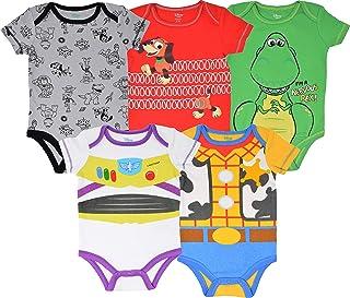 Disney Pixar Toy Story Baby Boy 5 Pack Bodysuit Buzz Lightyear Woody Rex Slinky Dog