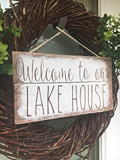 CELYCASY Welcome to Our Lake House, Lake House Wood Sign, Lake House Front Door Sign, Rustic Wood Sign, Rae Dunn Inspired Sign, Sign for Boat Dock